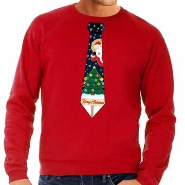 Foute kerst sweater kerstmis stropdas rood heren kersttrui
