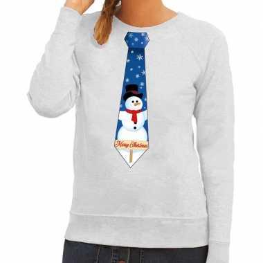 Foute kerst sweater sneeuwpop stropdas grijs dames kersttrui