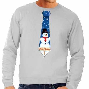 Foute kerst sweater sneeuwpop stropdas grijs heren kersttrui