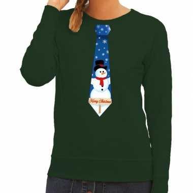 Foute kerst sweater sneeuwpop stropdas groen dames kersttrui