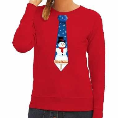 Foute kerst sweater sneeuwpop stropdas rood dames kersttrui