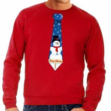 Foute kerst sweater sneeuwpop stropdas rood heren kersttrui