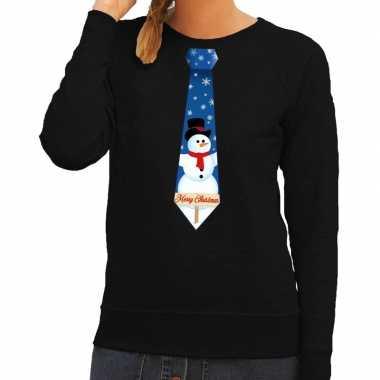 Foute kerst sweater sneeuwpop stropdas zwart dames kersttrui