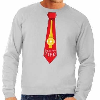 Foute kerst sweater suck my piek stropdas grijs heren kersttrui