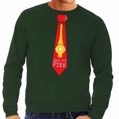Foute kerst sweater suck my piek stropdas groen heren kersttrui