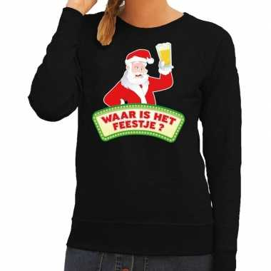 Foute kerst sweater zwart dronken kerstman bier dames kersttrui