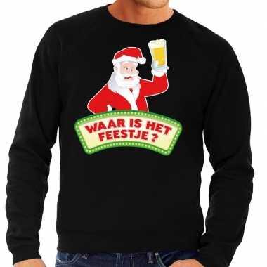 Foute kerst sweater zwart dronken kerstman bier heren kersttrui