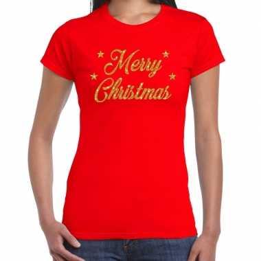 Foute kerstborrel / kerstshirt merry christmas glitter goud rood dames kersttrui