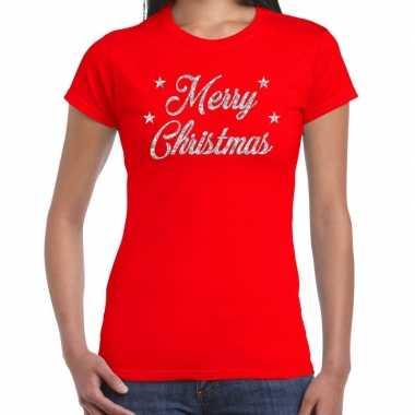 Foute kerstborrel / kerstshirt merry christmas glitter zilver rood dames kersttrui