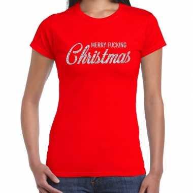Foute kerstborrel / kerstshirt merry fucking christmas glitter zilver rood dames kersttrui