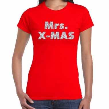 Foute kerstborrel / kerstshirt mrs x mas glitter zilver rood dames kersttrui