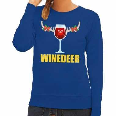 Foute kerstborrel trui blauw winedeer dames kersttrui
