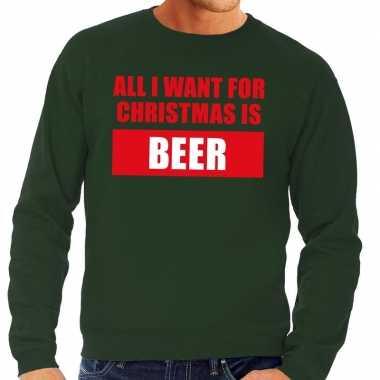 Foute kerstborrel trui groen all i want is beer heren kersttrui
