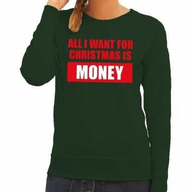 Foute kerstborrel trui groen all i want is money dames kersttrui