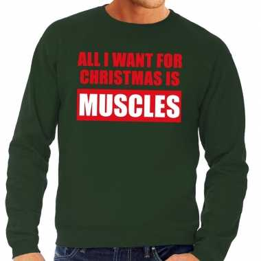 Foute kerstborrel trui groen all i want is muscles heren kersttrui