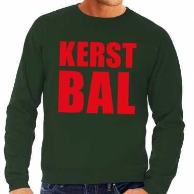 Foute kerstborrel trui groen kerstbal heren kersttrui