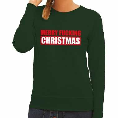 Foute kerstborrel trui groen merry fucking christmas dames kersttrui