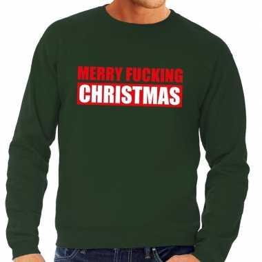 Foute kerstborrel trui groen merry fucking christmas heren kersttrui