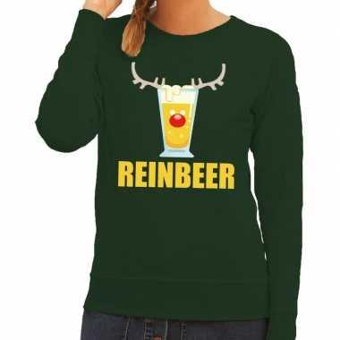 Foute kerstborrel trui groen reinbeer dames kersttrui