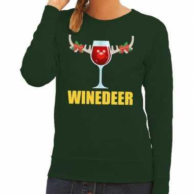 Foute kerstborrel trui groen winedeer dames kersttrui