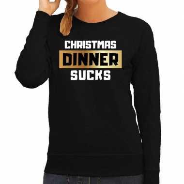Foute kerstborrel trui / kersttrui christmas dinner sucks zwart dames