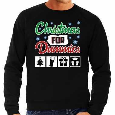 Foute kerstborrel trui / kersttrui christmas for dummies zwart heren