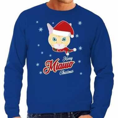 Foute kerstborrel trui / kersttrui i hate christmas songs / haat kerstmuziek blauw heren