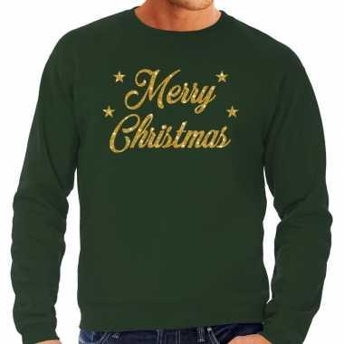 Foute kerstborrel trui / kersttrui merry christmas goud / groen heren