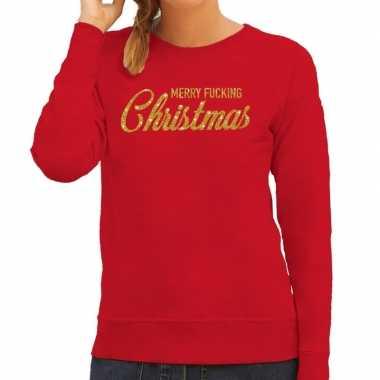 Foute kerstborrel trui / kersttrui merry fucking christmas glitter goud rood dames