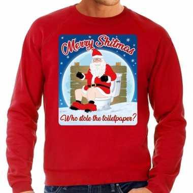 Foute kerstborrel trui / kersttrui merry shitmas rood heren