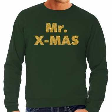 Foute kerstborrel trui / kersttrui mr. x mas goud / groen heren