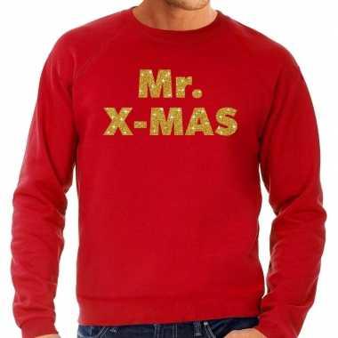Foute kerstborrel trui / kersttrui mr. x mas goud / rood heren