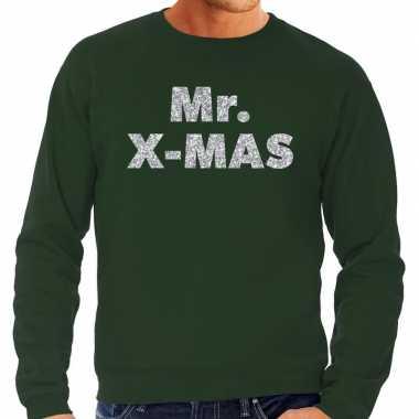 Foute kerstborrel trui / kersttrui mr. x mas zilver / groen heren