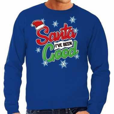 Foute kerstborrel trui / kersttrui santa i have been good blauw heren