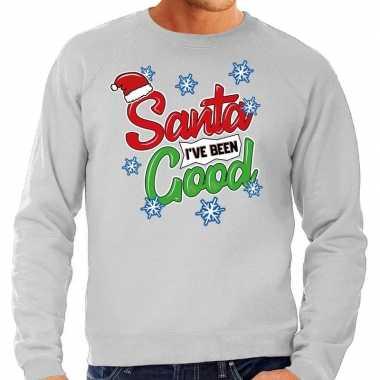 Foute kerstborrel trui / kersttrui santa i have been good grijs heren