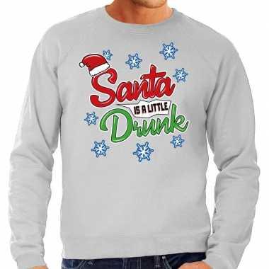 Foute kerstborrel trui / kersttrui santa is a little drunk grijs heren