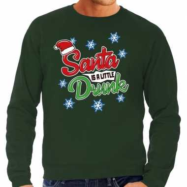 Foute kerstborrel trui / kersttrui santa is a little drunk groen heren