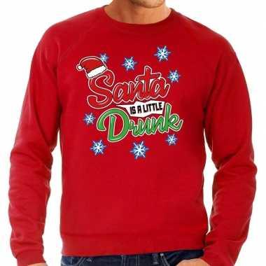 Foute kerstborrel trui / kersttrui santa is a little drunk rood heren