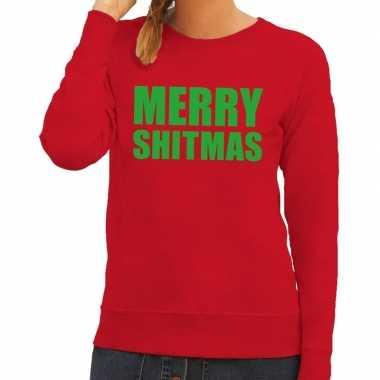 Foute kerstborrel trui rood merry shitmas dames kersttrui