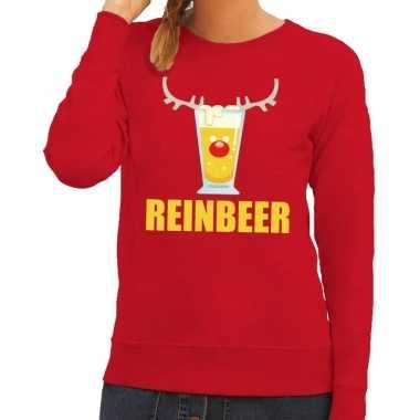 Foute kerstborrel trui rood reinbeer dames kersttrui