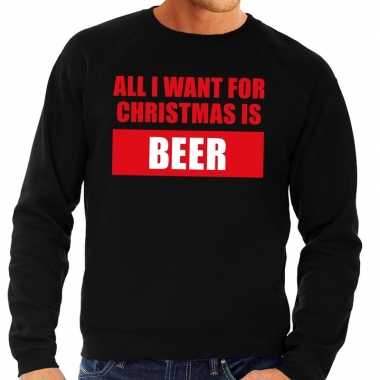 Foute kerstborrel trui zwart all i want is beer heren kersttrui