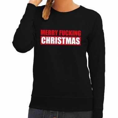 Foute kerstborrel trui zwart merry fucking christmas dames kersttrui