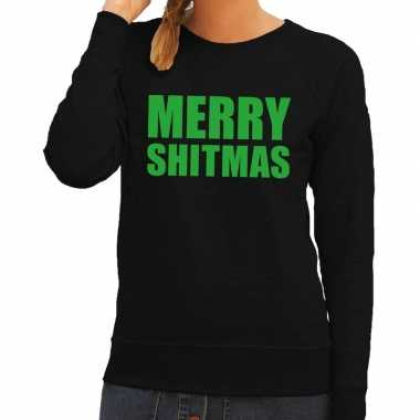 Foute kerstborrel trui zwart merry shitmas dames kersttrui