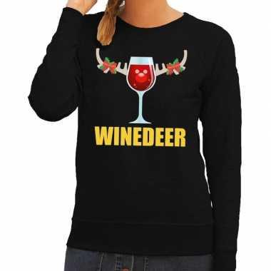 Foute kerstborrel trui zwart winedeer dames kersttrui