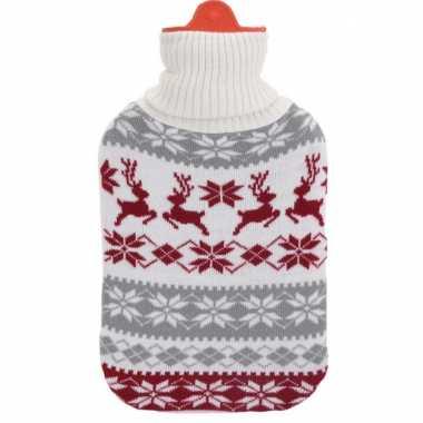 Foute kerstkruik grijs wit rood rendieren kersttrui hoes