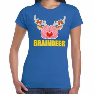 Foute kerstmis braindeer blauw dames kersttrui