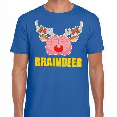 Foute kerstmis braindeer blauw heren kersttrui