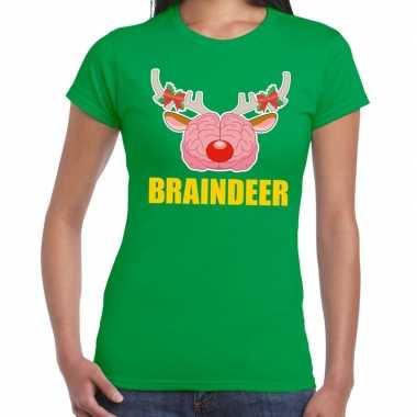Foute kerstmis braindeer groen dames kersttrui