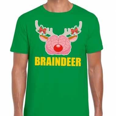 Foute kerstmis braindeer groen heren kersttrui