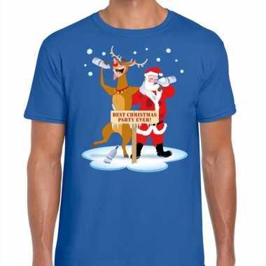 Foute kerstmis shirt blauw een dronken kerstman rudolf heren kersttr
